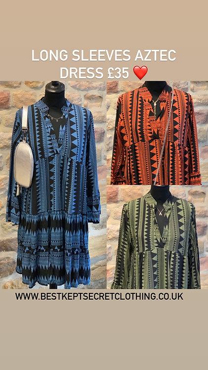 Long sleeve Aztec print dress