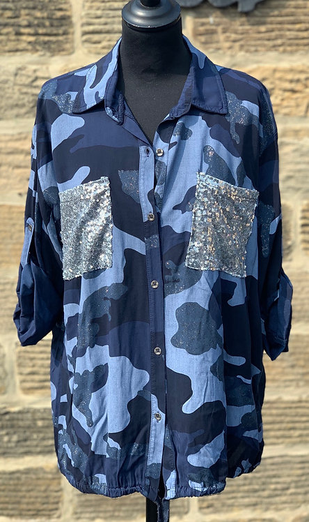 Camouflage shirt with sequin pockets