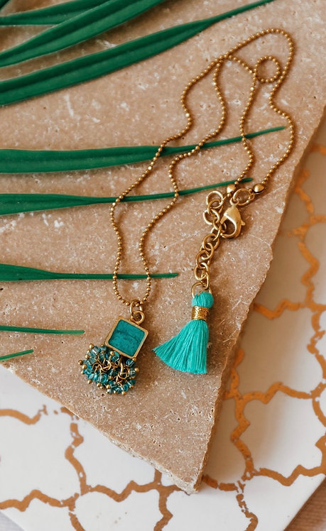 Turquoise Square Short Necklace with Tassel
