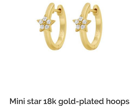 Mini Star 18k Gold-Plated Hoops