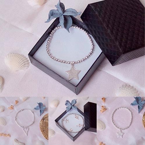 Silver Charm Bead Bracelets