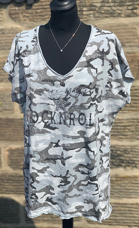 Rock & Roll Camouflage V neck top