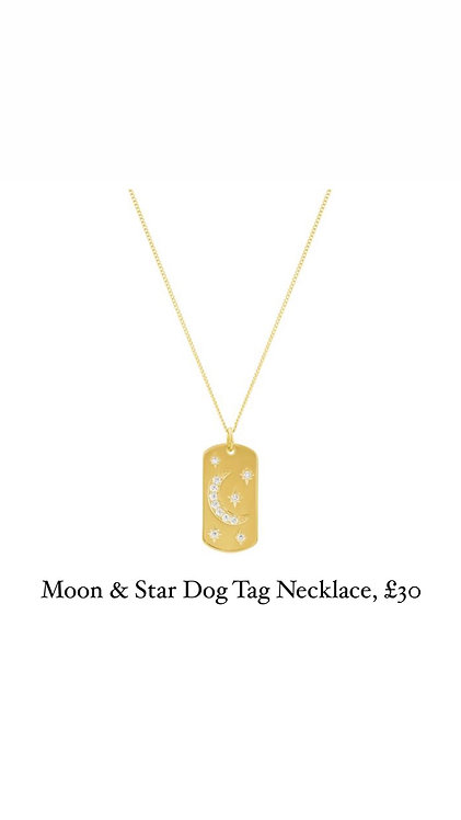 Moon & Star Dog Tag Necklace