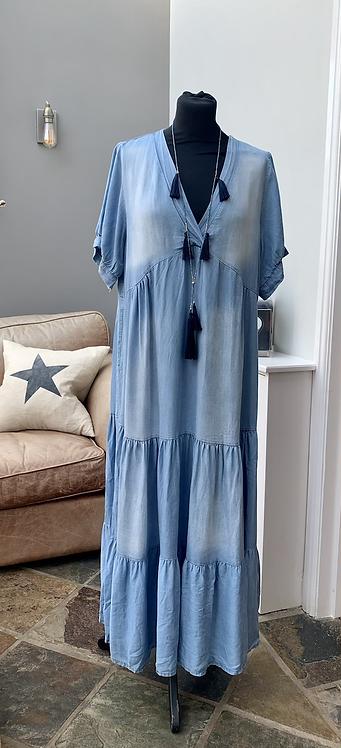 Amie Italian Soft Denim Tiered Dress