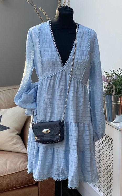 Bella Blue Tiered V Neck Dress