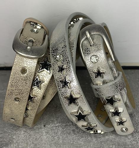 Slim Leather Star Stud Belt