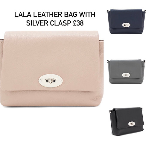 Lala Leather Bag with Silver Clasp
