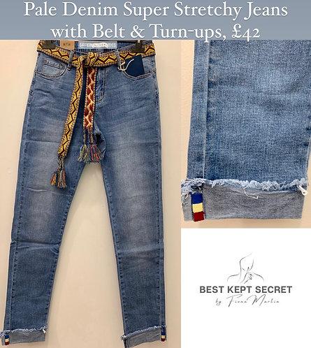 Pale Denim Jeans with Belt & Turn-up Detail