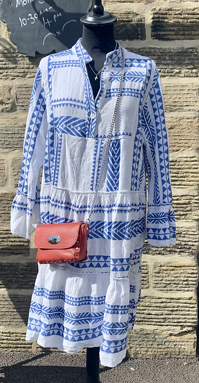 Aztec Print Italian Cotton Tunic Dress