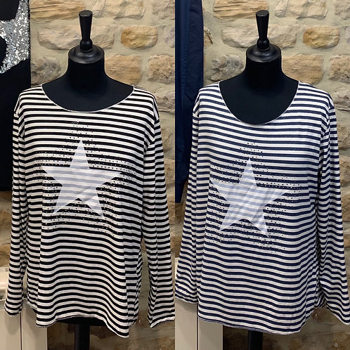 Long Sleeved Stripe Top with Studded Star motif