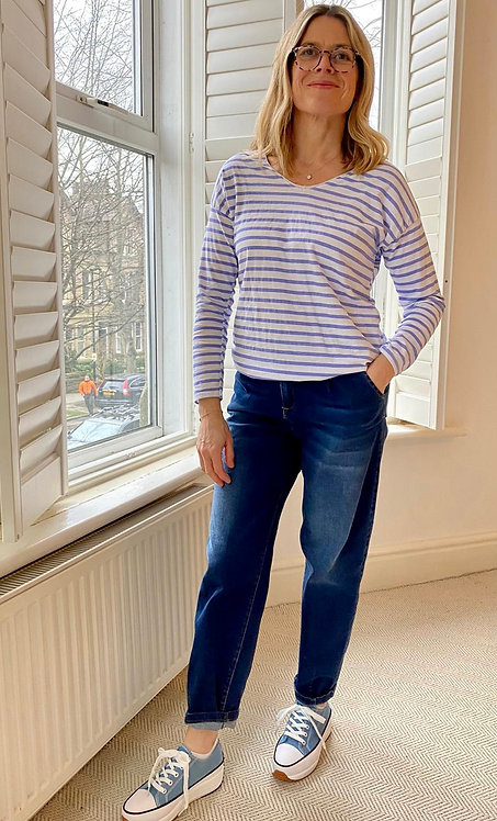 Cotton Stripped V Neck Long Sleeved Top