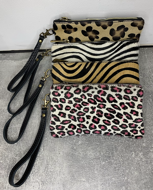 Fur Print Leather Purse with wrist strap