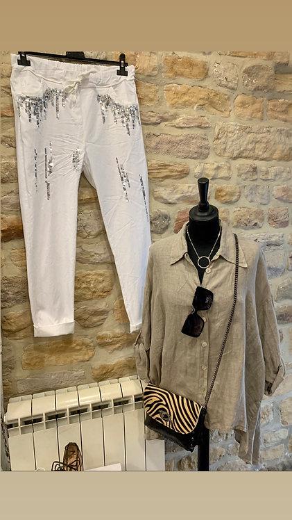 Mocha linen shirt top