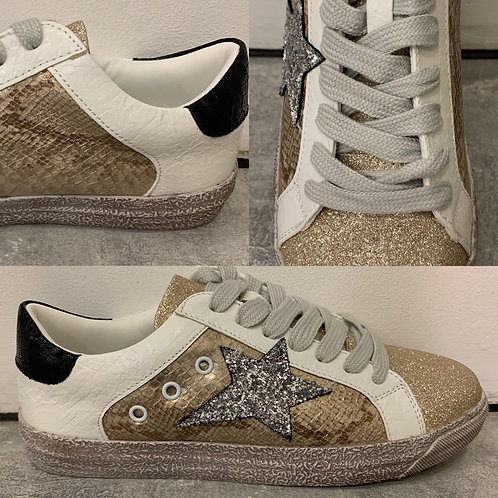 Gold & silver distressed star motif trainers