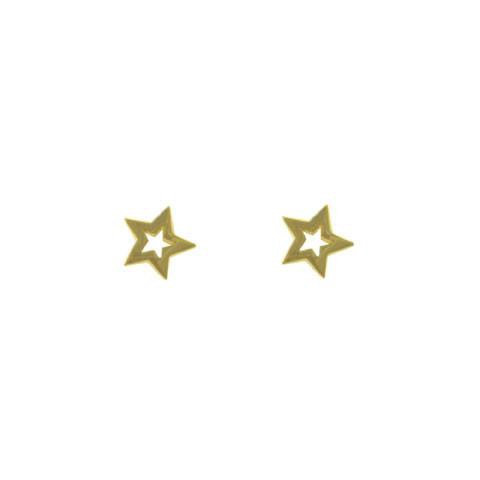 Open Star Stud Earrings in Gold Plated