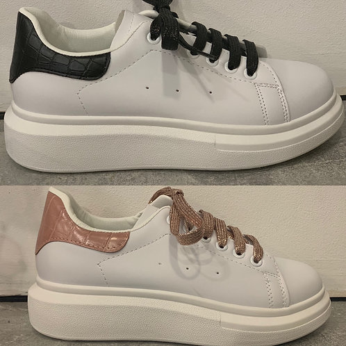 Flatform white trainers with black or pink trim