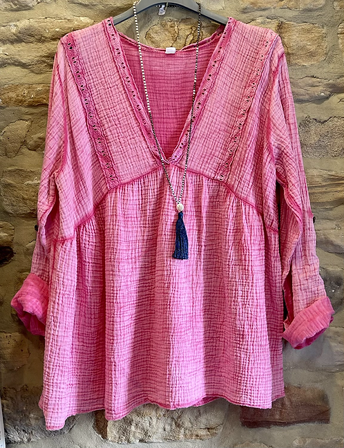 Pink Deep V Neckline Cotton Top