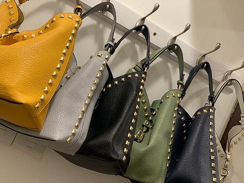 Gold Stud Detail Slouch Bag