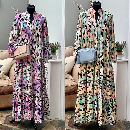 Leopard Print Long Tiered Italian Dress