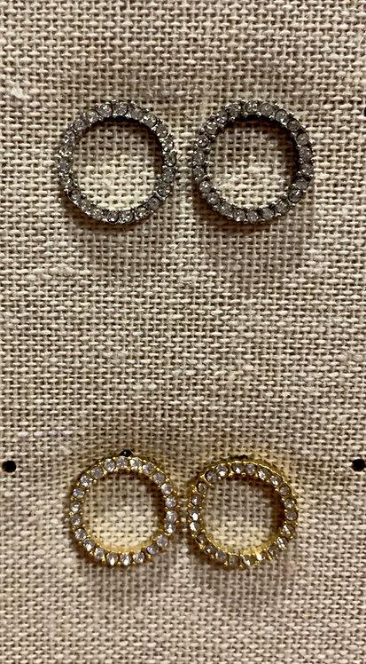 Delicate diamanté circle earrings