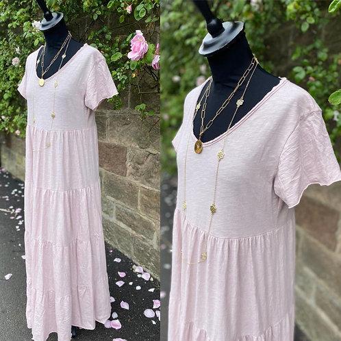 Italian Cotton Short Sleeve Tiered Dress