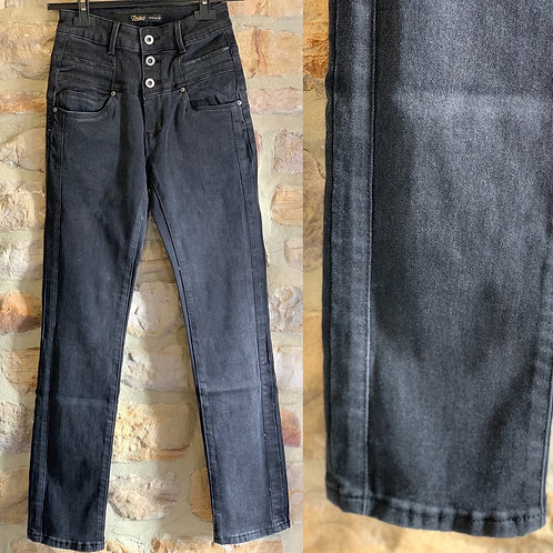 Charcoal high waist three button jeans