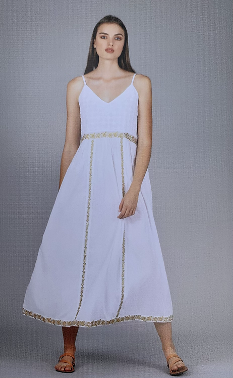 Tabitha Gold Embroidered White Cotton Dress from the Greek Collection