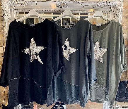 Oversized Sequin Star Sweatshirt