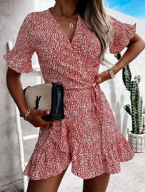 Wrap Frill Dress in Red