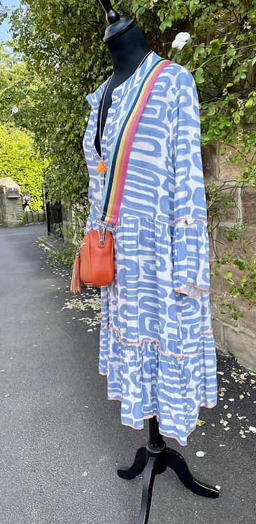 Pisa Blue Tiered Tunic Dress Neon Trim
