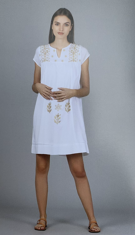 Mindy White Cotton Tunic Dress from the Green Collection
