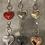 Thumbnail: Metallic Leather Heart Keyring Handbag Charm