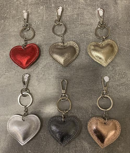 Metallic Leather Heart Keyring Handbag Charm