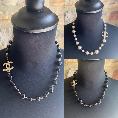 Short black bead necklace with CC detail