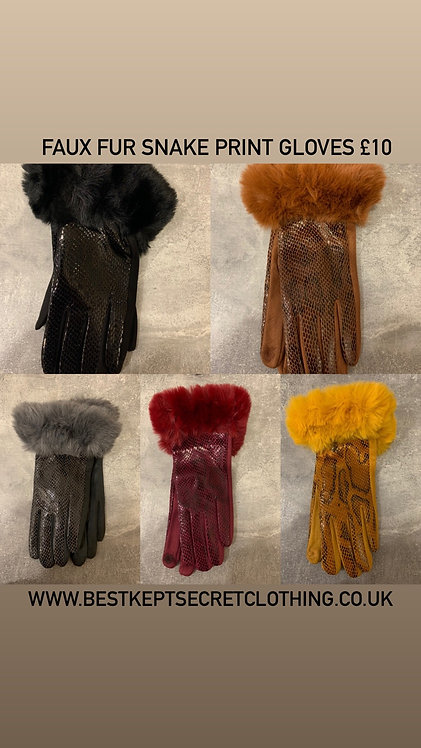 Faux Fur Trim Snake Print Gloves