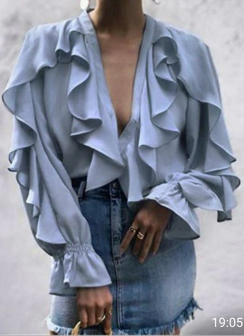 Lulu Frill Front & Sleeve Blouse