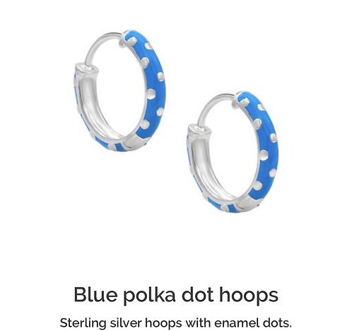 Enamel Blue Polka Dot Hoop Earrings
