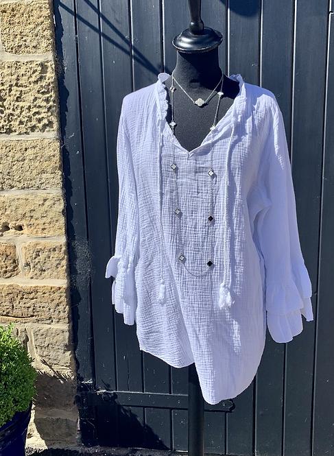 Pisa Tassel Tie Italian Cotton Top