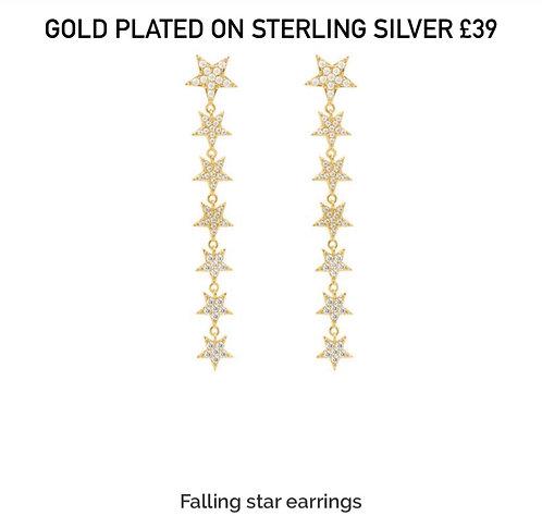 Falling Star Gold Plated Earrings