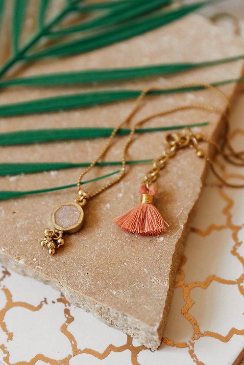 Champagne or Denim Enamel Short Tassel Necklace