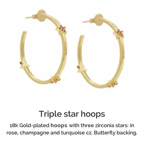 Triple Star Hoop Earrings gold plated
