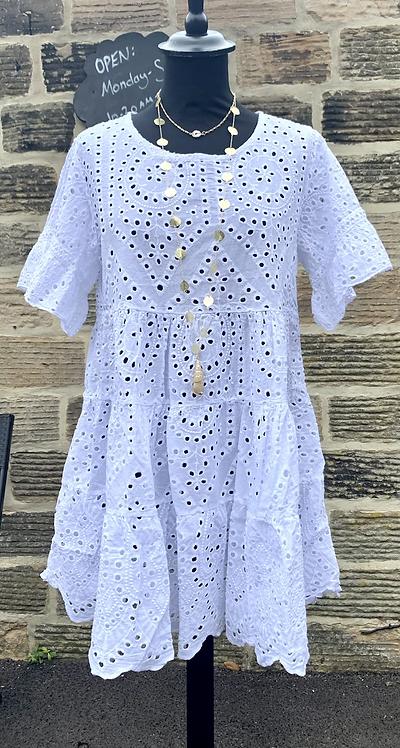 Daisy White Italian Cotton Tunic Dress