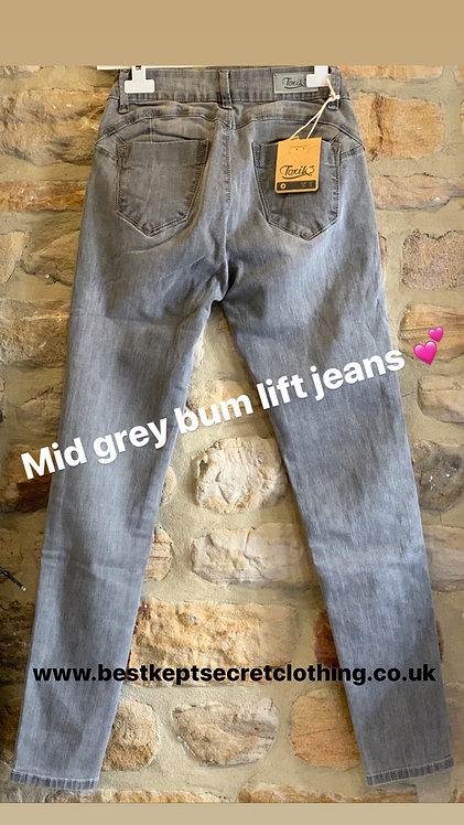 Mid grey bum lift jeans