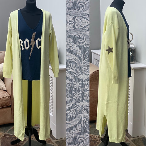 Longline Open Cardi with Star Elbows