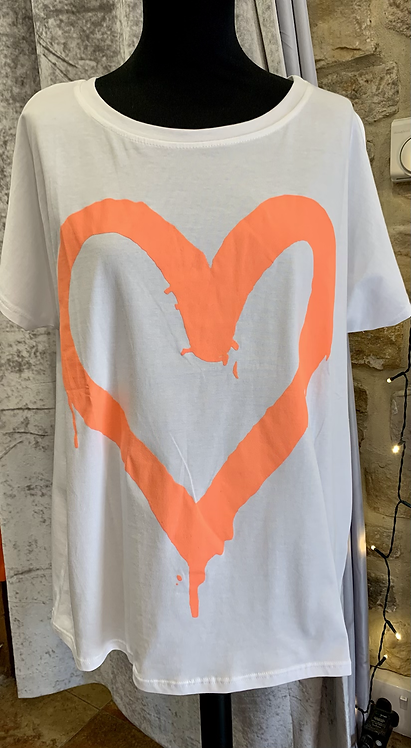 Cotton Tee with Neon Heart Motif