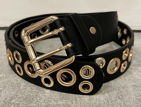 Single & Double Gold Hoop Black Belt