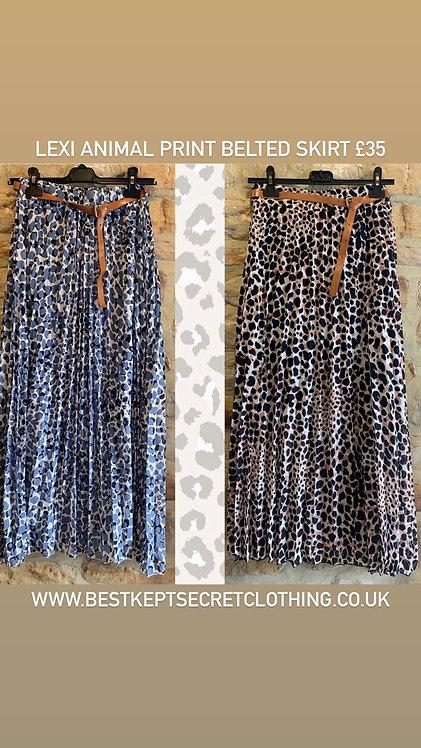 Lexi Animal Print Pleated Skirt