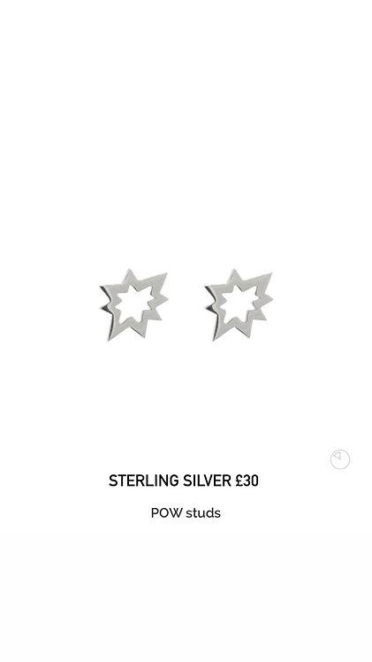 POW Sterling Silver Stud Earrings
