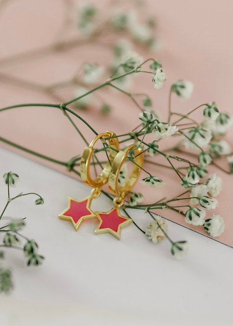 Mini Hoop Earrings with Enamel Star