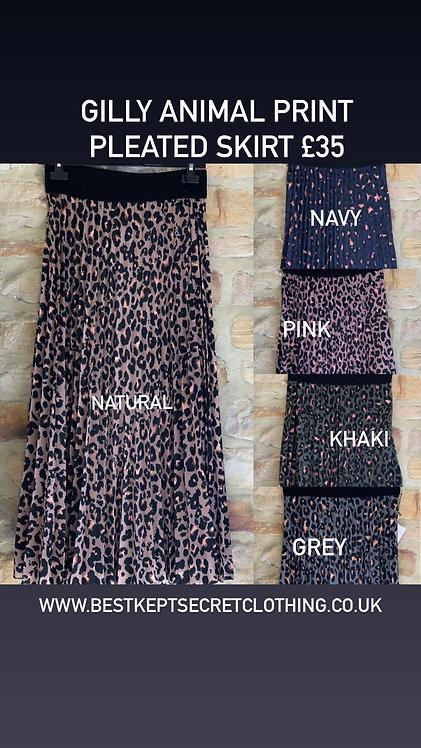 Gilly Animal Print Pleated Skirt